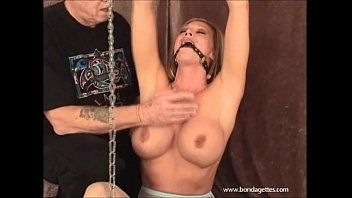 Erotic thraldom and ballgagged domination of kinky damsel in distress struggling